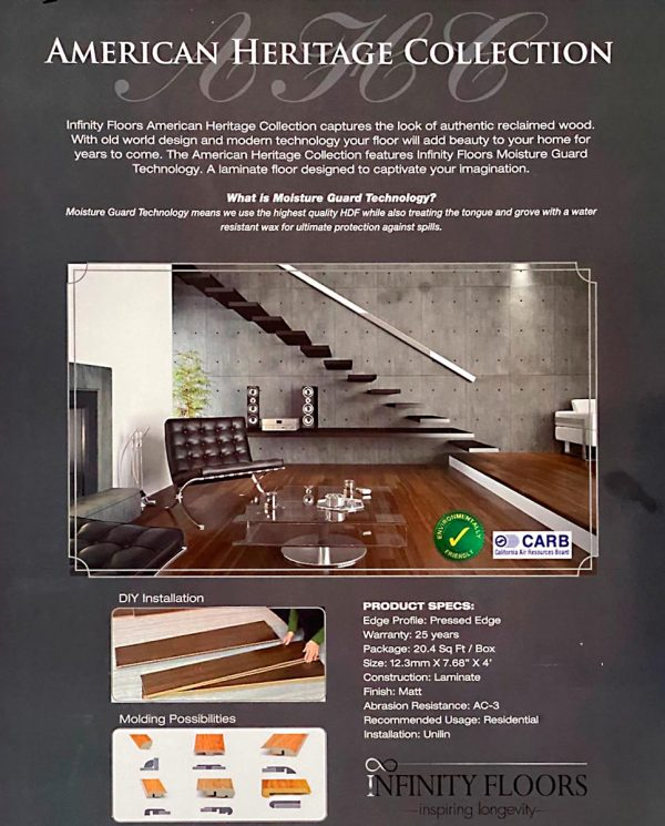 Infinity Floors, American Heritage Collection, Laminate Flooring in Sandstorm Color